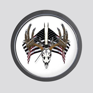 Whitetail skull on old glory Wall Clock