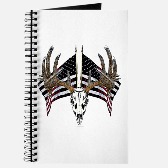 Whitetail skull on old glory Journal