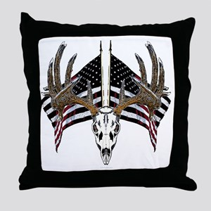 Whitetail skull on old glory Throw Pillow