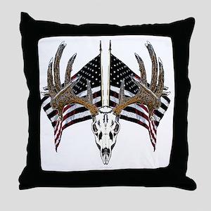 Whitetail skull on old glory Throw Pillow