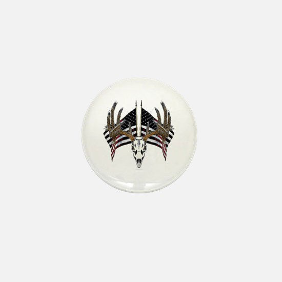 Whitetail skull on old glory Mini Button