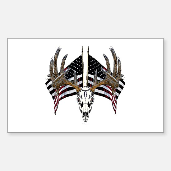 Whitetail skull on old glory Sticker (Rectangle)