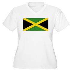Jamaican Flag Women's Plus Size V-Neck T-Shirt