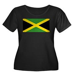 Jamaican Flag Women's Plus Size Scoop Neck Dark T-
