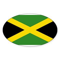 Jamaican Flag Sticker (Oval 10 pk)