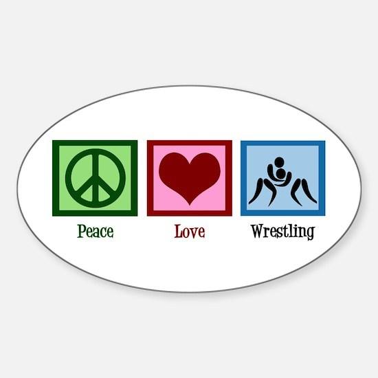 Peace Love Wrestling Sticker (Oval)