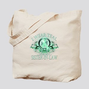 I Wear Teal for my Sister In Law (floral) Tote Bag