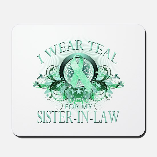 I Wear Teal for my Sister In Law (floral) Mousepad