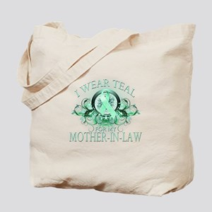 I Wear Teal for my Mother In Law (floral) Tote Bag