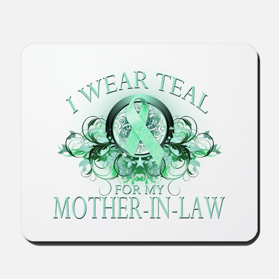I Wear Teal for my Mother In Law (floral) Mousepad