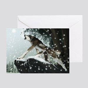 tree wolf Greeting Cards
