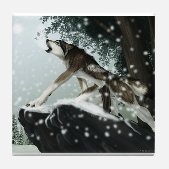 Cute Wolf howling Tile Coaster