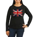 Grunge UK Flag Women's Long Sleeve Dark T-Shirt