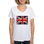 Grunge UK Flag Women's V-Neck T-Shirt