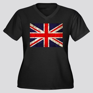 Grunge UK Flag Women's Plus Size V-Neck Dark T-Shi