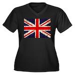 Grunge UK Flag Women's Plus Size V-Neck Dark T-Shi