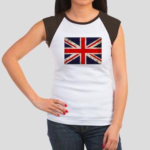 Grunge UK Flag Women's Cap Sleeve T-Shirt