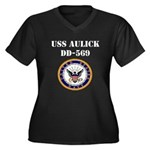 USS AULICK Women's Plus Size V-Neck Dark T-Shirt