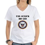 USS AULICK Women's V-Neck T-Shirt