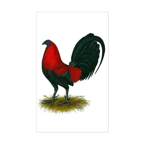Big Red Rooster Sticker (Rectangle)