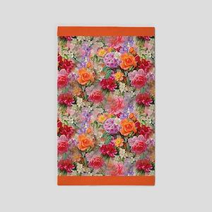 Colorful Spring Flowers Orange Border Area Rug