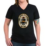 USS ARTHUR W. RADFORD Women's V-Neck Dark T-Shirt