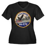 USS BACHE Women's Plus Size V-Neck Dark T-Shirt