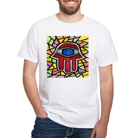 Yellow Sunshine Hamsa White T-Shirt