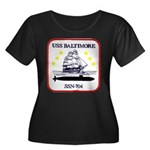 USS BALTIMORE Women's Plus Size Scoop Neck Dark T-
