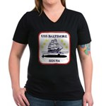 USS BALTIMORE Women's V-Neck Dark T-Shirt