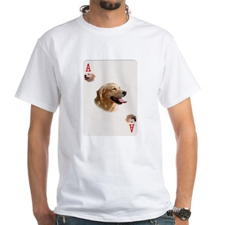 GOLDEN RETRIEVER PLAYING CARDS - ACE White T-Shirt