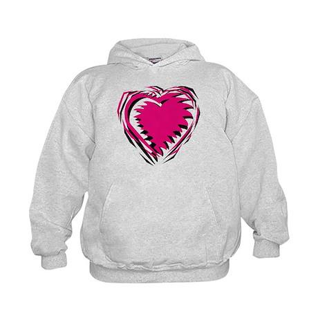 HEART {21} : pink/black Kids Hoodie