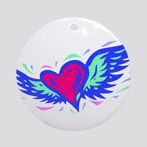 HEART & WINGS {1} : blue/pink Ornament (Round)