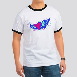 HEART & WINGS {1} : blue/pink Ringer T