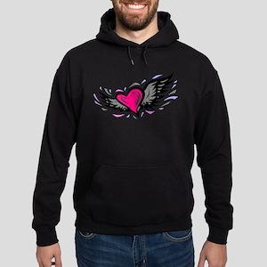 HEART & WINGS {1} : pink/gray Hoodie (dark)