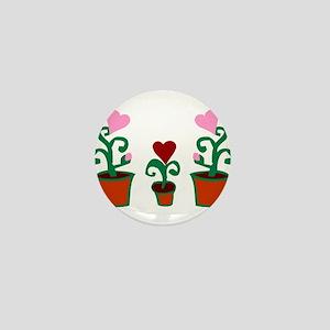 HEART FLOWER POT TRIO Mini Button