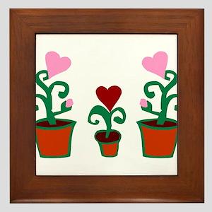 HEART FLOWER POT TRIO Framed Tile