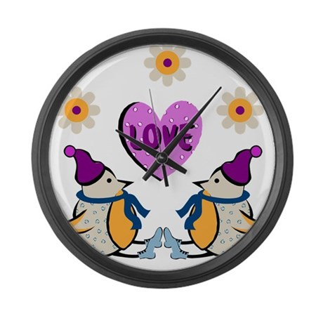 LOVE PENQUINS Large Wall Clock