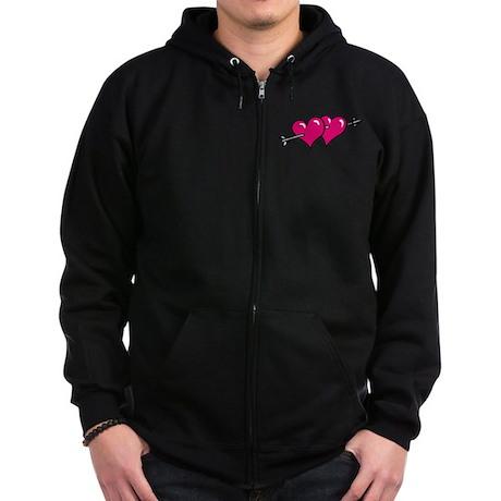 HEARTS & ARROW {10} : pink Zip Hoodie (dark)