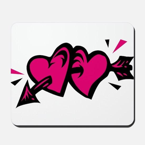 HEARTS & ARROW {11} : pink/bl Mousepad