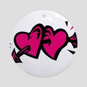 HEARTS & ARROW {11} : pink/bl Ornament (Round)