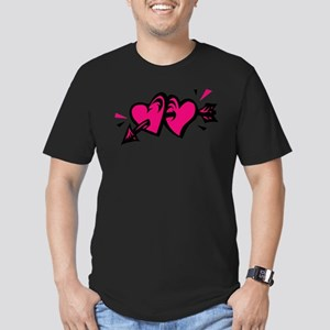 HEARTS & ARROW {11} : pink/bl Men's Fitted T-Shirt