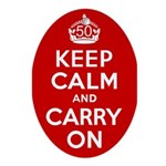 50th Birthday Keep Calm Ornament (Oval)
