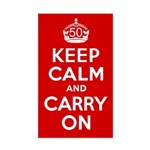 50th Birthday Keep Calm Sticker (Rectangle)