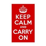 50th Birthday Keep Calm Sticker (Rectangle 10 pk)