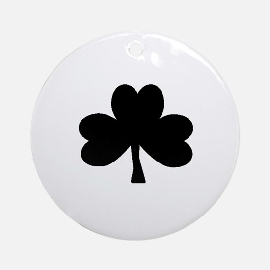 Black Shamrock on Ornament (Round)