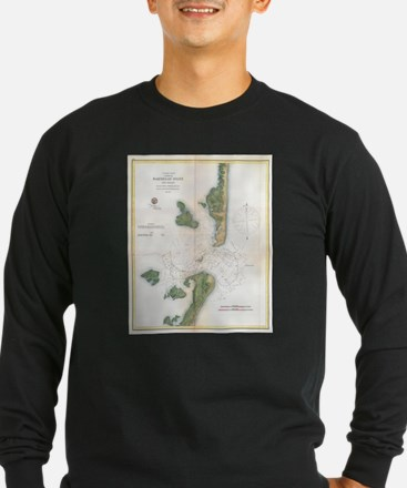 Vintage Map of The Barnegat In Long Sleeve T-Shirt