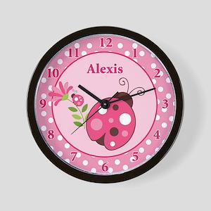 Ladybug Garden Pink Dot Wall Clock