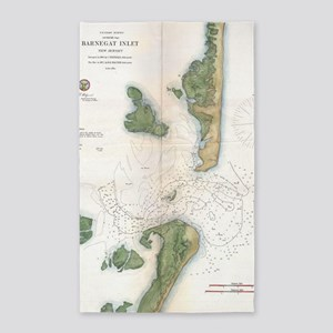 Vintage Map of The Barnegat Inlet (1865) Area Rug