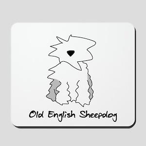 Cartoon Old English Sheepdog Mousepad